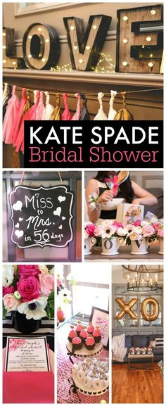 """What a fantastic Kate Spade bridal shower. I love the cupcake bar, the decorations including the gold mylar """"XO,"""" balloons and the pink and black tables. See more Kate Spade party ideas at CatchMyParty.com #BridalShowerIdeas"""