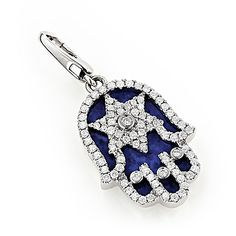 Hamsa Jewelry: 18K Gold Star of David Diamond Pendant 0.6ct