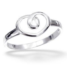 Silver Heart Twirl Ring
