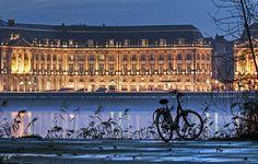 "The ""place de la Bourse"" seen by the right riverside at nightfall // #Bordeaux #Night #Garonne"