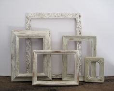 Open Picture Frame Set Of 5 Shabby Chic Antique White Wall Decor. $45.00, via Etsy.