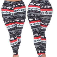 e155bc7f0e4 Woman s Plus Size Leggings with Deer and Snowflakes - Winter Wonderland  Inspired Leggings