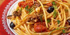 Spaghettis tomates-olives-thon