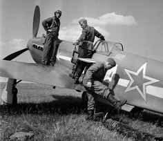 Air Force - Yakovlev Yak-3 with Pilot and Ground Crew - Doing Last Minute Maintenance.