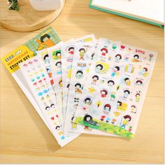 6 sheets/lot DIY Cute Kawaii PVC Decorative Sticker Lovely Girl Sticky Paper For Scrapbooking Home Decoration Free Shipping 3480