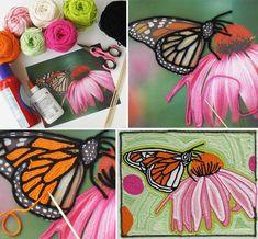 Хенд-мейд: ниткография - Yarn Painting, Painting Art, Diy And Crafts, Arts And Crafts, 4th Grade Art, Middle School Art, Green Art, Art Lesson Plans, Crochet Yarn