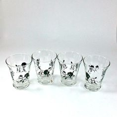 Anchor Hocking Juice Glasses with Poodles