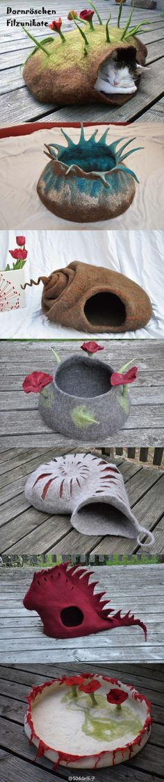 "felt cat beds  Would love to learn to do felting so I could make one of these for my ""grandkitties""! @Jodi Wissing Wissing Porter"
