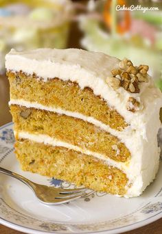 Our family favorite carrot cake recipe, with walnuts, pineapple, and a cream cheese frosting. #carrotcake #easter #recipe