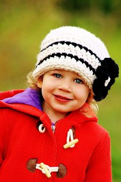Girls Hat in Warm White(off-white) and Black - Toddler, Girls, and Women. $25.00, via Etsy.