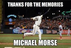 Farewell & Best Of Luck Michael Morse.You Will Be Missed! My Giants, Giants Baseball, New York Giants, Baseball Field, Baseball Memes, San Fransico Giants, Michael Morse, Pablo Sandoval, G Man