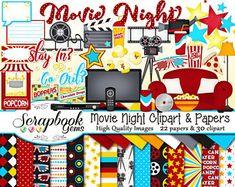 Movie Clipart Movie Night Clip Art Popcorn Clipart Cinema | Etsy Kit Scrapbook, Scrapbook Paper, E Commerce, Movie Clipart, Commercial, Cinema, Image Paper, Les Themes, Clip Art