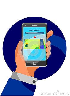 Vector illustration for money transaction, technology, business, mobile banking, processing