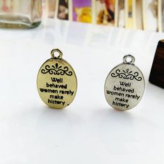 16x21mm Alloy Letters Charm Pendants well behaved by rosediy2015