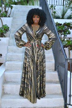 Style Pantry | Metallic Tie Waist Maxi Dress