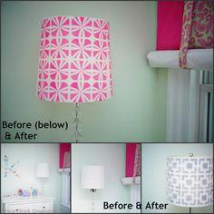 Lampshade Makeover via Heartworkorg.com | Kintetic Floral Furniture Stencil | Royal Design Studio