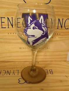 Hand Painted Washington Huskies Wine Glass on Etsy, $22.95