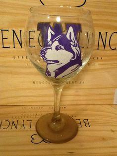 Hand Painted Washington Huskies Wine Glass on Etsy, $22.95