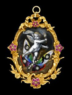 Whimsical ruby and diamond enamel brooch   19th century   Possibly Limoges, blue enameled putti with torch riding guilloche enamel and diamond set butterfly, framed in yellow gold and pink sapphire frame.