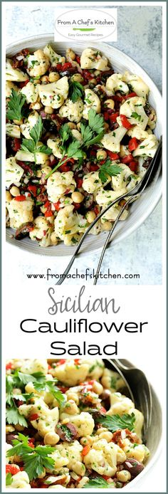 "Sicilian Cauliflower Salad, also known as ""reinforcement salad"" is super easy and made with simple pantry ingredients you may already have on hand. Potluck Recipes, Spring Recipes, Side Dish Recipes, Salad Recipes, Gourmet Recipes, Healthy Recipes, Chili Recipes, Cauliflower Salad, Cauliflower Recipes"