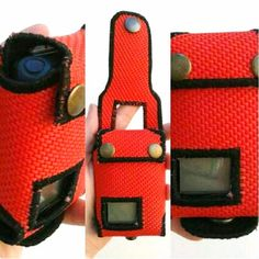Meldertasche für Swissphone Quattro aus Feuerwehrschlauch in rot.