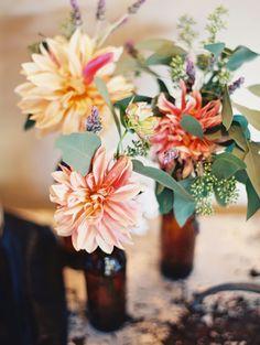 dahlia floral arrangements, photo by Lavender & Twine http://ruffledblog.com/microbrewed-wedding-inspiration #flowers #centerpieces