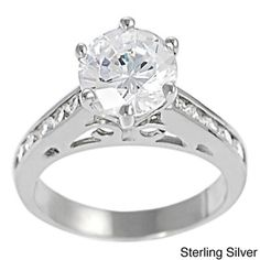 Tressa Sterling Silver Cubic Zirconia Filigree Engagement Ring | Overstock™ Shopping - Big Discounts on Tressa Cubic Zirconia Rings
