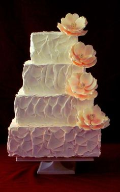 rough textured buttermilk frosting wedding cake - I also like the ombre