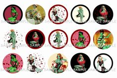 Zombie Pinup Girls Bottle Cap Images
