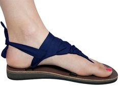 "Navy Blue Sseko sandals - ""Straps"" can be twisted, braided and woven in MANY different ways - so cool."