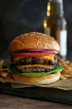 triple play burger: bacon, pork & beef burger from Cooking with Cocktail Rings || #burger #burgers #recipe