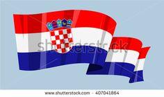 National waving flag vector editable banner ribbon country world Croatia Europe - stock vector
