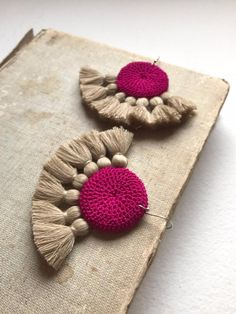 Fuchsia & Straw Crochet Disc Tassel Earrings, Handmade Tassel Earrings, Boho Earrings, Crochet Earrings by reba Silky Midnight Blue crochet disc embellished with handmade Black cotton tassels. Our Tougana Crochet Jewellery collection is inspired by the vi Diy Fabric Jewellery, Fabric Earrings, Thread Jewellery, Tassel Jewelry, Boho Earrings, Earrings Handmade, Crochet Earrings, Handmade Jewelry, Punk Earrings