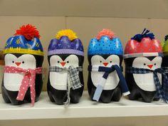 Pinguins feitos de garrafas pet.