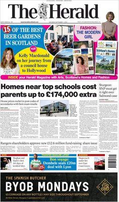 Herald ( Saturday September 1 2018) #news #newspaper Kelly Macdonald, Council House, Herald News, September 1, Beer Garden, Newspaper, Scotland, Cool Style, Journey