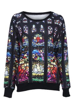 Black Mother of God Pattern Sweatshirt US$31.12