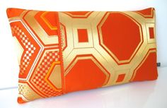 Metallic Geometric Gold Cushion made from Japanese Obi Silk NEW LTD EDITION £60.00