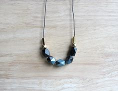 wooden geometic necklace // black metallic-teal blue dipped by BelleAccessoires, €16.00