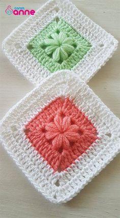 Crochet Dinosaur Patterns, Crochet Motifs, Granny Square Crochet Pattern, Crochet Flower Patterns, Afghan Crochet Patterns, Crochet Squares, Crochet Designs, Knitting Patterns, Granny Squares
