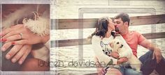 We're getting married! Unique engagement photo with dog. Unique and cool pre-wedding engagement photo session with pets. White clothing, shabby chic, vintage, garden photo session. Photo shoot with couple. Bride and groom. Engagement and wedding announcements. Save the date ideas. Lauren Davidson Photography.