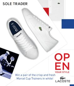 PLEASE NOTE: THIS COMPETITION HAS NOW ENDED! Win a pair of the Lacoste Marcel Cup trainers in white!!  For more info + to enter, click here: http://woobox.com/7q9zb9