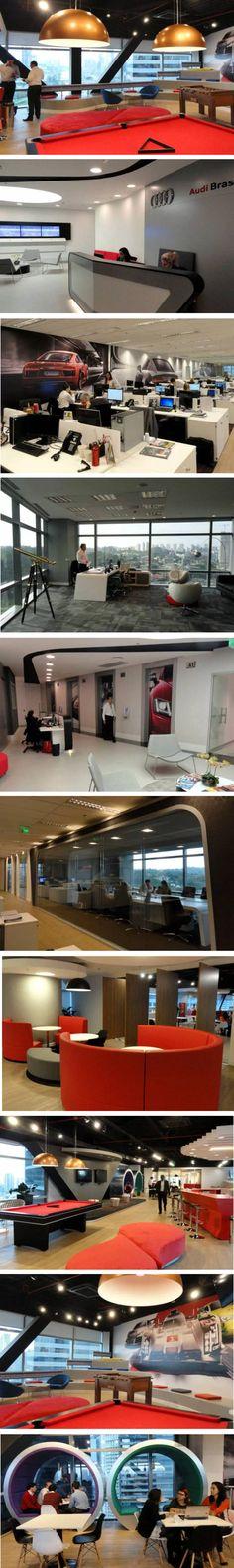 escritório da Audi em São Paulo. Ambiente é marcado pelas curvas e anéis que compõem a logomarca da empresa e também pela descontração (http://exame.abril.com.br/negocios/por-dentro-do-novo-escritorio-da-audi-em-sao-paulo/)