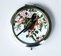Hey, I found this really awesome Etsy listing at https://www.etsy.com/listing/181999684/robin-bird-compact-mirror-pocket-mirror