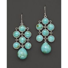 Elizabeth Showers Sterling Silver And Turquoise Chandelier E... - Polyvore