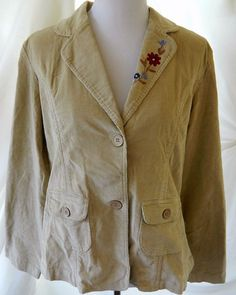 NWT Women's Corduroy Jacket Blazer Floral Embroidered Stretch DCC Missy Beige XL…