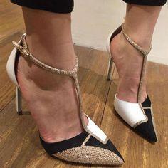 c053b454d7e Sequin Sexy Women s T-Strap High Heels Stilettos Sandals Party Pointed Toe  Shoes