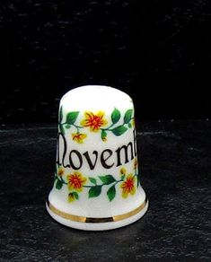 July Flower on the Month Porcelain China Thimble