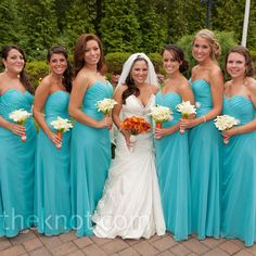 Turquoise And Black Wedding Party Dresses Engagement Rings Bridesmaid