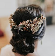 Bridal Headpieces, Bridal Hair, Dragonfly Wedding, Red Hair Woman, Flower Crown Hairstyle, Magical Wedding, Diy Wedding Decorations, Wedding Looks, Hair Jewelry