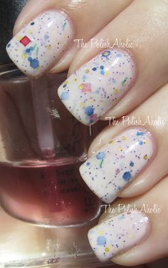 What an awesome polish, like birthday cake frosting with sprinkles.  (thepolishaholic.com) by Pretty and Polished.